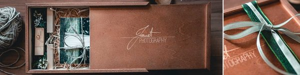Wooden box for photos walnut with engraving